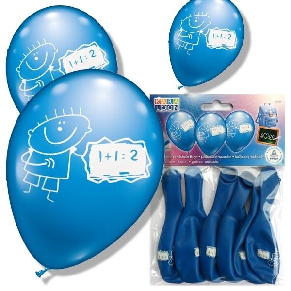 Ballons zum Schulanfang, 6 Latexballons in hübschem Blau, 30cm