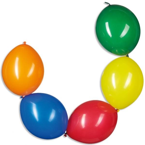 Ketten-Ballons als eindrucksvolle Ballondeko, 10 Ballons im Pack, bunt