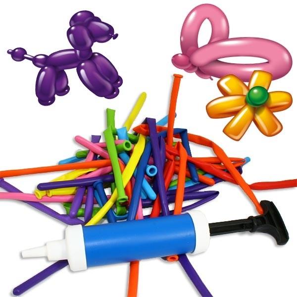 Modellierballons im Set für Partyspaß: 20 Ballons+Pumpe,Figurenballons