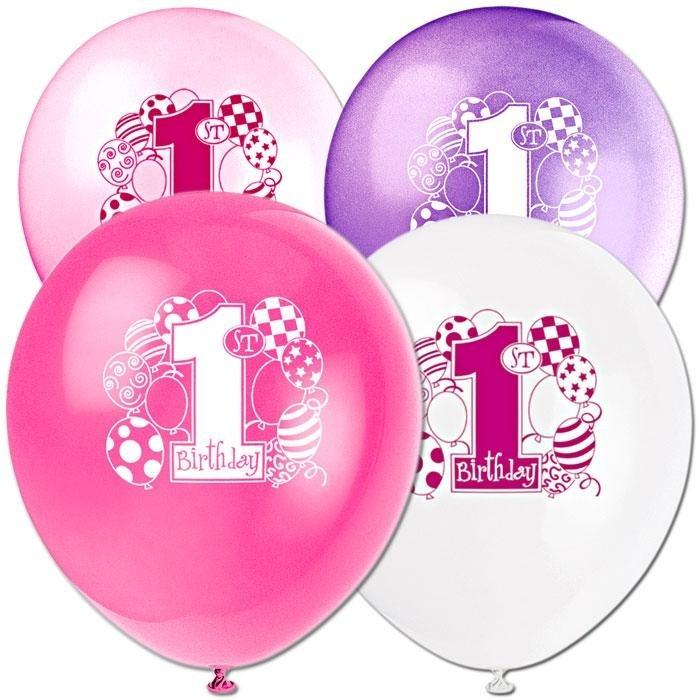 Latex-Ballons mit Zahl 1 zum 1. Geburtstag Girls, 4 Farben, 8er-Pack